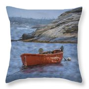 Red Boat In Peggy's Cove Throw Pillow