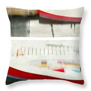 Red Boat At The Dock Throw Pillow