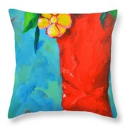 Red Boot With Flowers Throw Pillow