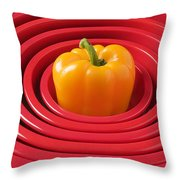 Red Bowls And Pepper Throw Pillow