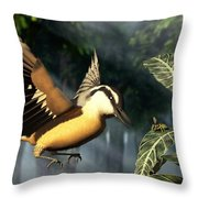 Red Breasted Nuthatch Eating Yellow Jacket Throw Pillow