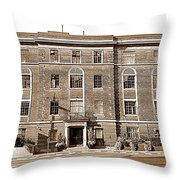Red Bricks Building In Sepia Throw Pillow