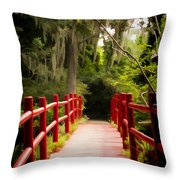 Red Bridge In Southern Plantation Throw Pillow