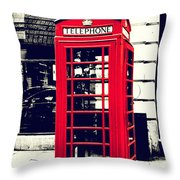 Red British Telephone Booth Throw Pillow