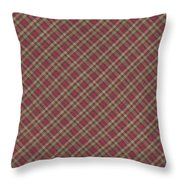 Red Brown And Green Diagonal Plaid Pattern Fabric Background Throw Pillow
