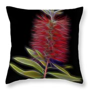 Red Brush Glow Throw Pillow