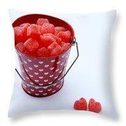 Red Bucket Of Hearts Throw Pillow