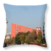 Red Building And Alex Throw Pillow