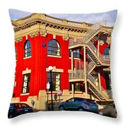 Red Building On Water Street In Saint John's-nl Throw Pillow
