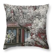 Red Building White Buds Throw Pillow