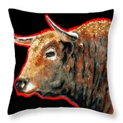 R E D . B U L L . In Black II Throw Pillow