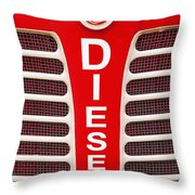 Red Bumper On Vehicle Labeled Diesel Throw Pillow