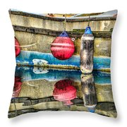 Red Buoy Reflections Of Alaska Throw Pillow