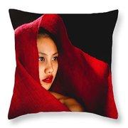 Red Burlap Throw Pillow