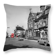 Red Bus And Red Telephone Box - 1960's    Ref-124-2 Throw Pillow