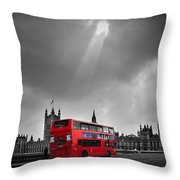 Red Bus Throw Pillow by Svetlana Sewell