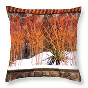 Red Bushes And Rock Wall Throw Pillow