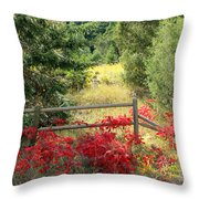 Red Bushes Throw Pillow