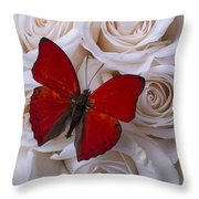 Red Butterfly Among White Roses Throw Pillow