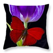 Red Butterfly And Purple Tulip Throw Pillow