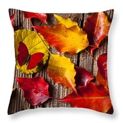 Red Butterfly In Autumn Leaves Throw Pillow by Garry Gay