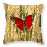 Red Butterfly In The Tall Weeds Throw Pillow