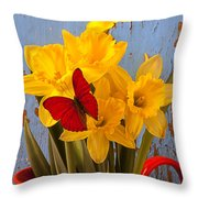 Red Butterfly On Daffodils Throw Pillow