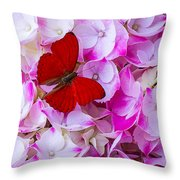 Red Butterfly On Hydrangea Throw Pillow