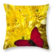 Red Butterfly On Poms Throw Pillow