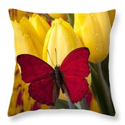 Red Butterfly Resting On Tulips Throw Pillow