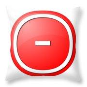 Red  Button Minus Throw Pillow