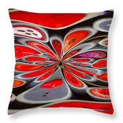 Red Button Orb Throw Pillow