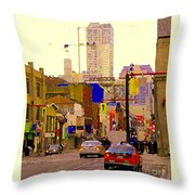 Red Cab On Gerrard Chinatown Morning Toronto City Scape Paintings Canadian Urban Art Carole Spandau Throw Pillow