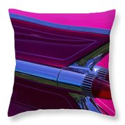 Red Caddy Tail Lights Throw Pillow