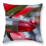 Red Cadillac Fins Throw Pillow