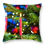 Red Candles In Christmas Tree Throw Pillow