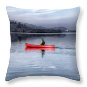 Red Canoe Throw Pillow by Adrian Evans