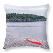 Red Canoe And Woman In Green Dress Throw Pillow