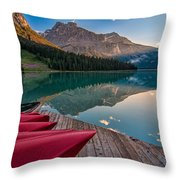 Red Canoe View Throw Pillow