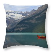 Red Canoes On Lake Louise Throw Pillow