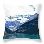 Red Canoes Turquoise Water Throw Pillow