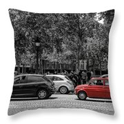 Red Car In Paris Throw Pillow