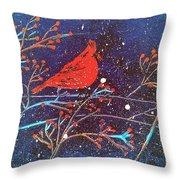 Red Cardinal Bird On Branch Painting Fine Art Print Throw Pillow