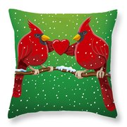 Red Cardinal Bird Pair Heart Christmas Throw Pillow by Frank Ramspott