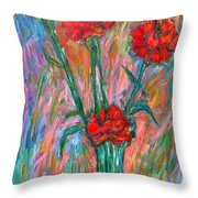 Red Carnation Melody Throw Pillow