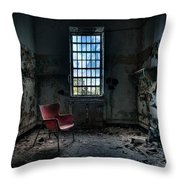 Red Chair - Art Deco Decay - Gary Heller Throw Pillow by Gary Heller