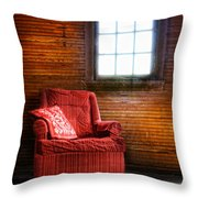 Red Chair In Panelled Room Throw Pillow