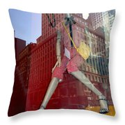 Red Cheque Reflections Throw Pillow