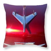 Red Chevy Car Hood  Throw Pillow
