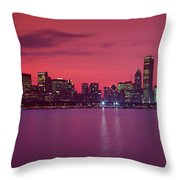 Red Chicago Sunset Throw Pillow